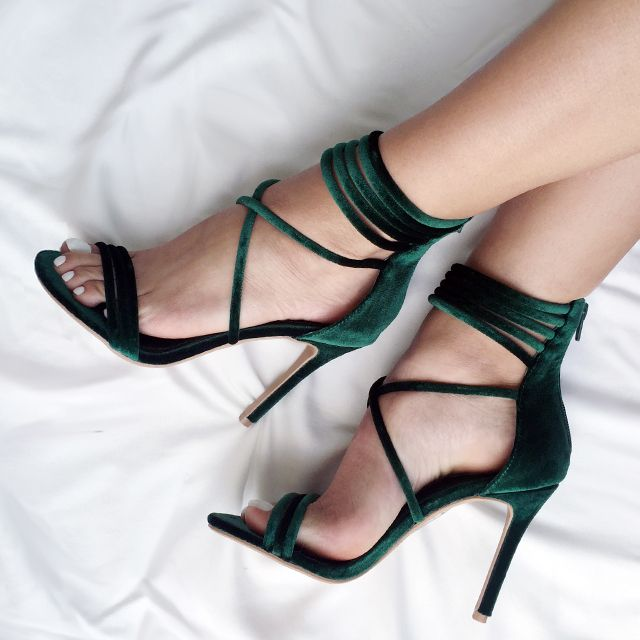 Complete your #OOTN with these jade velvet heels. #strappy #velvet #jade #emerald #fashion #inspo #shoes #heels #style #trend #hot #gojane