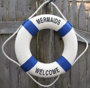 Mermaids Welcome Life Ring Preserver Nautical Decor Mermaid Pool Seaside