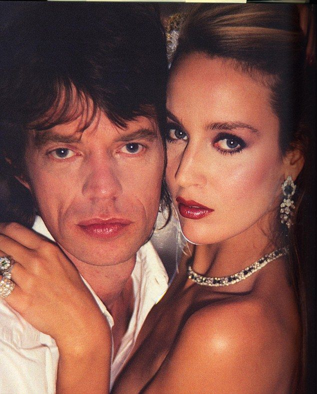 Jerry Hall & Mick Jagger on their wedding day.