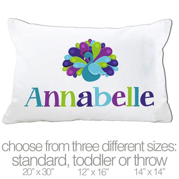 Peacock pillow   personalized pillowcase colorful by zoeysattic, $18.00