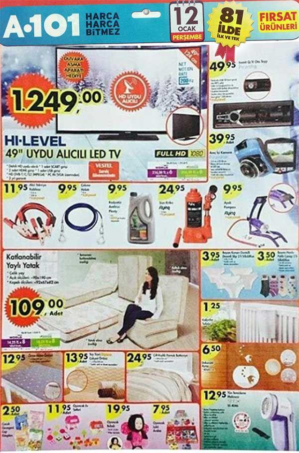 A101 mağazalarında Perşembe günlerine özel aktüel ürün indirimleri devam ediyor. A101'de bu hafta 12 Ocak 2017 tarihi itibariyle satışa sunulacak aktüel ürünleri aşağıdaki kampanya broşüründe inceleyebilirsiniz. İlk olarak LAV marka cam ürünlerinin yeraldığı broşürü ekliyoruz. Diğer broşürler önümüzdeki saatlerde eklenecektir.    A101 12 Ocak - 19 Ocak 2017 aktüel ürünler listesi  Lav Liza 12 Parça Çay Seti 14,95 TL Lav Liza Şekerlik 3,50 TL Lav Liza Kahve Yanı Su Bardağı 3,50 TL Lav Liz...