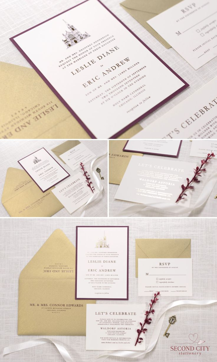ivory gold and wine burgundy wedding invitation with foil printing the merriment - Wedding Invitations Chicago