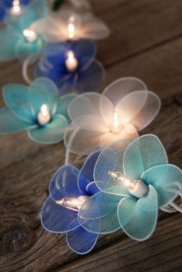 Blue Flower Lights 20 Nylon Flowers 10 Feet $15 set / 3 sets $14 each