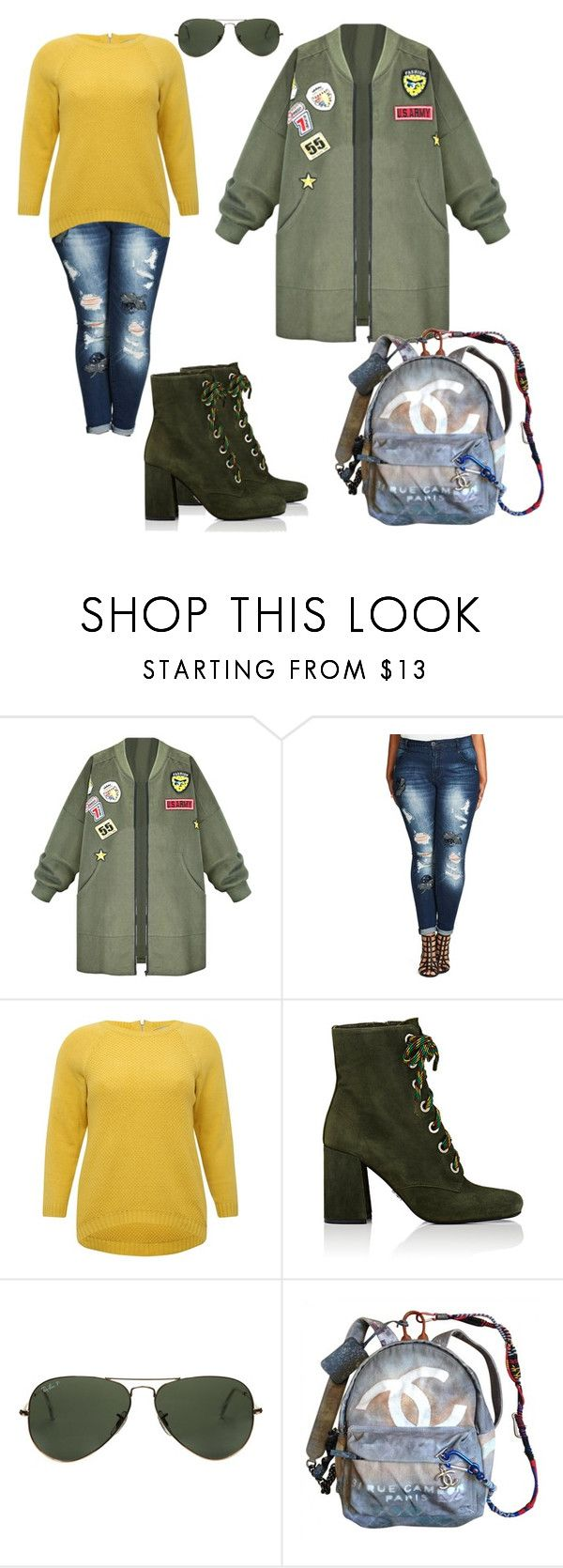 """Plus Size"" by repriza on Polyvore featuring мода, City Chic, M&Co, Prada, Ray-Ban, Chanel и plus size clothing"