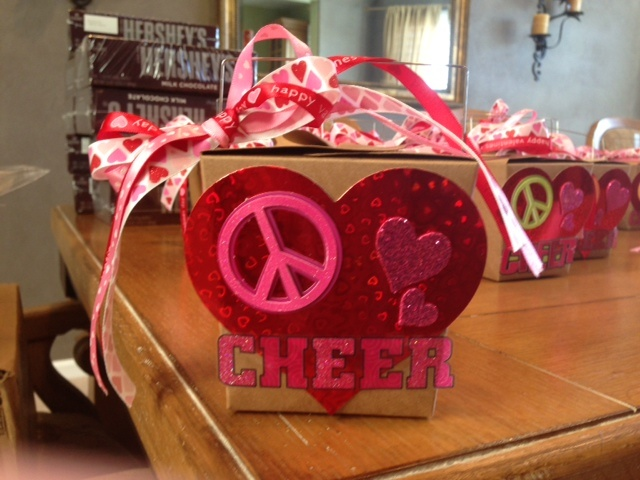 """Peace, Love & Cheer"" - Valentine for cheer teammates and coach (Chinese takout box filled with candy)"