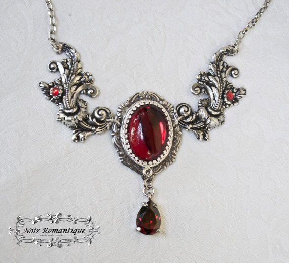 Silber Victorian Ruby gedeihen Halskette - Silber N925, Bridal Jewelry-Victorian Gothic Halskette mit Rubin Edelstein-Gothic Halskette