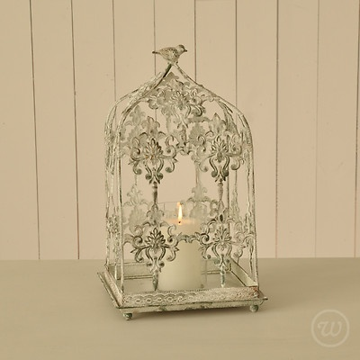 Vintage Wedding Table Decoration Centrepiece Filigree Bird Cage Candle Holder