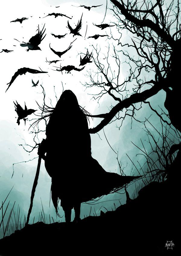 Walking with crows. Badh is the crone aspect of the triple goddess the Morrigan. She teaches us to meet and accept our fate. Life is seen as including many paradoxes so death rests as a valid process within the cycle.