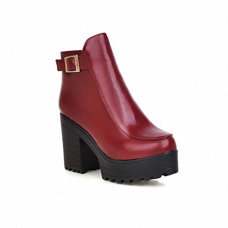 Latasa Women's Fashion Cold-weather Buckle Strap Block High-heel Platform Ankle Boots * To view further for this item, visit the image link.