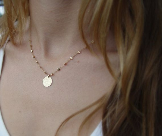 Small Shiny Gold Disc Necklace, Gold Filled
