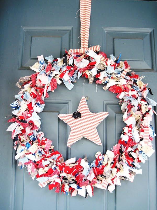 fabric fourth of July wreath