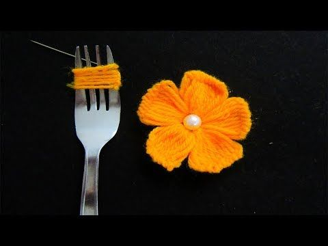 Fun Hand Embroidery Yarn Flower DIY Tutorial with Fork – Video
