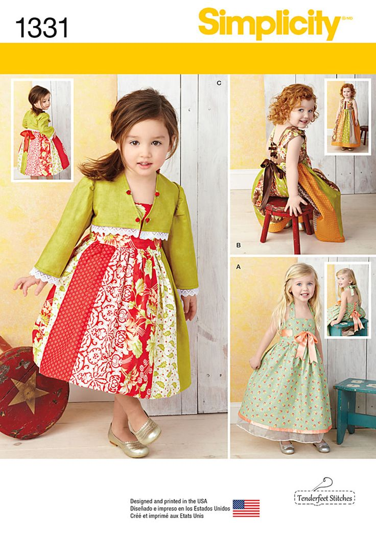 Be creative with fabric mixing using this adorable dress pattern for toddlers. Options include underskirt, halter strap, paneled skirt with banded hem, trim at bodice, shorter paneled skirt and lined bolero jacket. Sew the look with Simplicity pattern 1331.