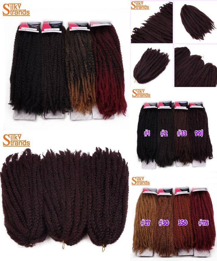 [Visit to Buy] Silky Strands Afro Marley Braids Hair 20Strands/Pack Kanekalon Fiber Crochet Twist Hair Extensions 18inch 100g  #Advertisement