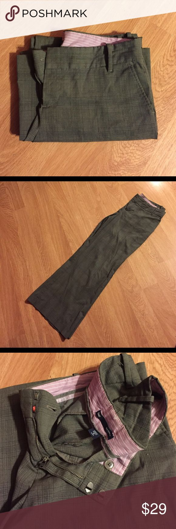 Gap Trousers Gap Wide Leg Trousers.  Dark grey plaid print, size 10 ankle.  These are gently used, but like new condition. GAP Pants Trousers