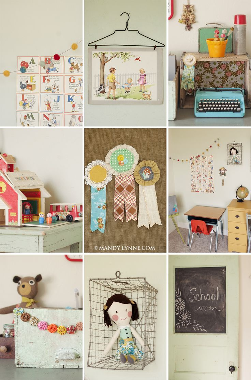 !Learning Spaces, Schools Room, Vintage Schools Decor, Kids Spaces, Kids Room, Girls Room, Wire Baskets, Vintage Kids, Kids Decor