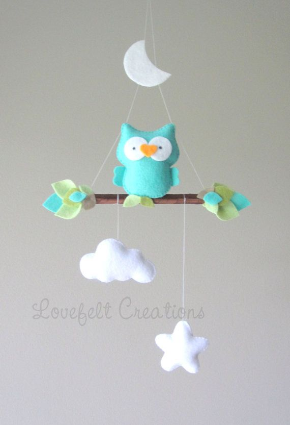 baby mobile baby mobile owl owl mobile mint by LoveFeltXoXo