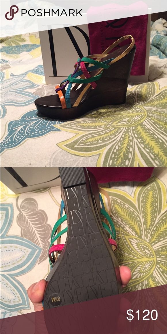 Diane von Furstenberg multi color wedges, 8 1/2 Diane Von Furstenberg wedges, 8 1/2 Diane Von Furstenberg Shoes Wedges