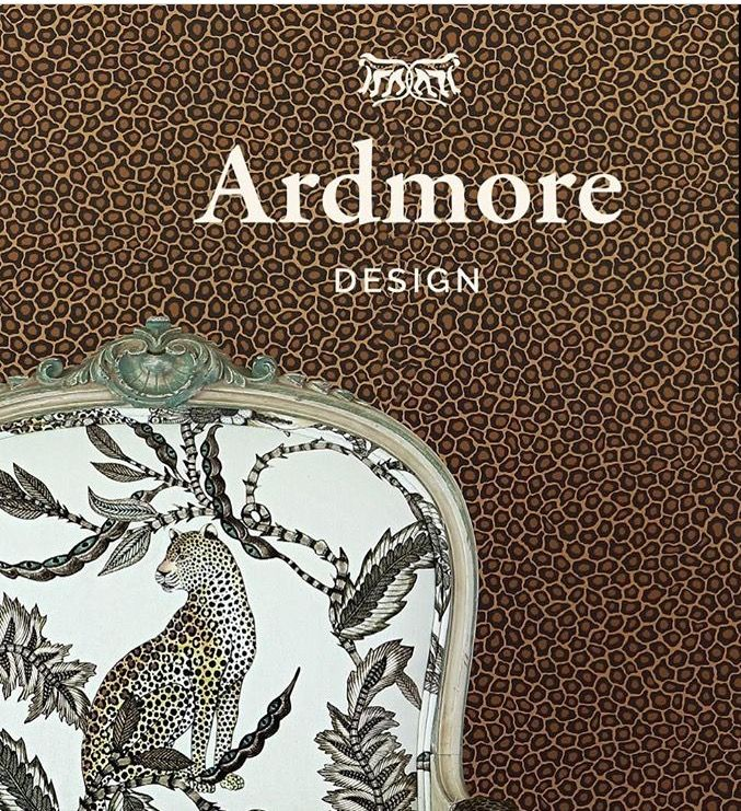 """Ardmore """"Monkey Bean"""" Fabric with our Wallpaper, """"senzo spot,"""" created by Cole & Son."""
