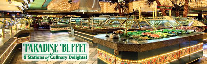 """Paradise Buffet & Cafe at Fremont Street Casino.  Tuesday night is Steak Night dinner for $13.99 per person with """"B Connected"""" membership, which is free.  Can walk to Fremont Street from chapel (according to our wedding planner).  Need to call and see if they have private dining room or table large enough for all."""