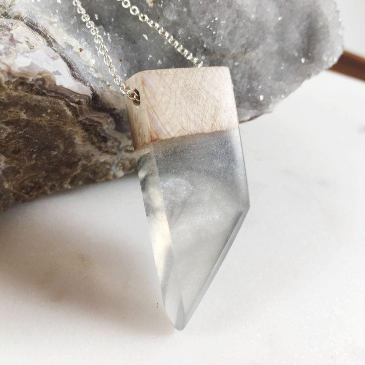 Resin wood pendant necklace https://www.etsy.com/ca/listing/518814160/silver-resin-wood-pendant-necklace-resin