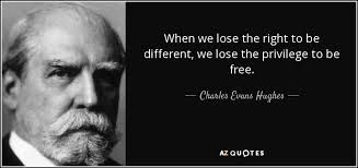 """""""When we lose the right to be different, we lose the privilege to be free.""""  Charles Evans Hughes"""