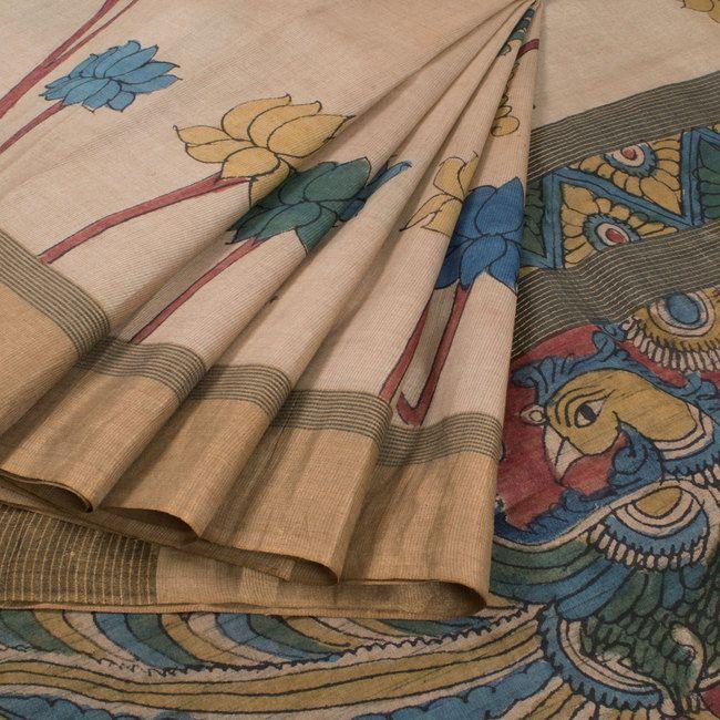 Hand Painted Pen Kalamkari Beige Tussar Silk Saree With Lotus Motifs & Zari Border 10015844 - AVISHYA.COM