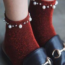 5 paar/partij Herfst vrouwen Sokken Kleur Zilver Dunne Parel Mode Kerst Sokken Groothandel(China)