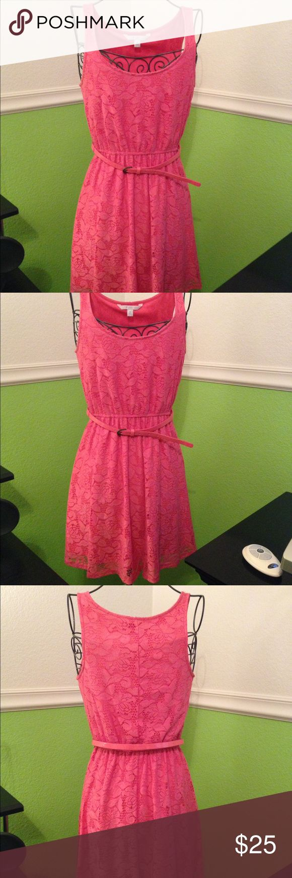 Salmon Floral Dress A pretty salmon color Floral dress. Stretchy material and comes with matching belt.Only worn once!! In great condition!! LC Lauren Conrad Dresses Midi