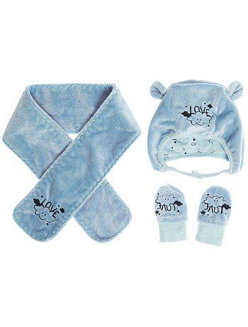 Ensemble ratine bonnet + écharpe + moufles                                                                      bleu ciel Bébé fille