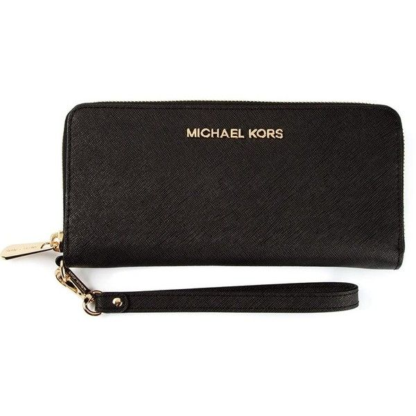 Michael Michael Kors Jet Set Wristlet Wallet ($136) ❤ liked on Polyvore featuring bags, wallets, purses, black, leather wristlet wallet, zip top bag, black leather bag, leather wallet and black wallet