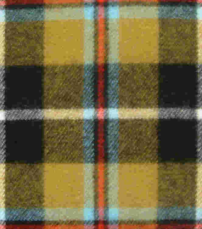 The Cornish tartan reflects the colours of Cornwall    Gold represents the  Celtic Kings of Cornwall    Grey represents the white tin that's  smelted from the black ore in Cornwall    Blue represents the sea of  the Cornish coastline    Black and white represents the  flag of St. Piran    Red represents the Cornish chough's  red beak and legs
