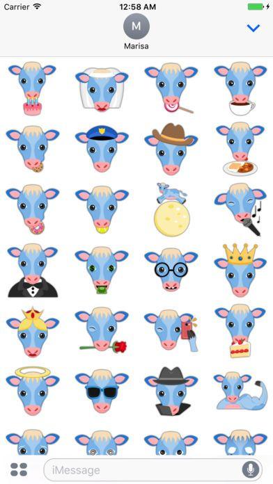 True Blue Cow Emoji Stickers by Marisa Marquez