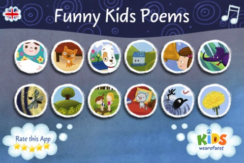 "Funny Poems- $1.99    Funny Kids Poems"" is an interactive book for children up to 6 years old.  There are twelve illustrated and animated pages with short rhymes by Marina Lindholm.  Make sure to switch to the English version."