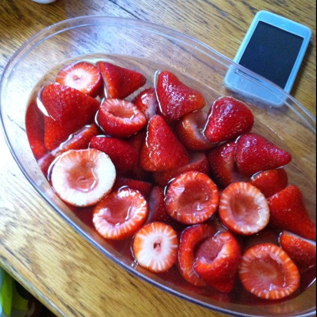 Soaking strawberries in vodka before filling them with jello for yummy shots!