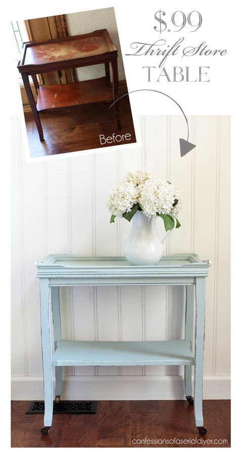 99¢ Thrift Store Table Makeover from confessionsofaser...