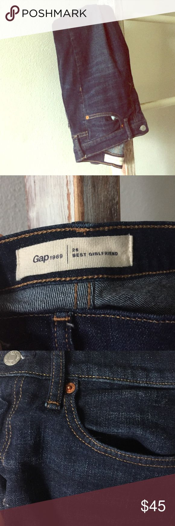 GAP denim (worn once) Almost new GAP denim. Premium, vintage-inspired denim with just a bit of stretch. Dark indigo wash with subtle fading and whiskering. Zip fly, button closure. Five-pocket styling. Fit: Easy through the hip and thigh. Cut: Mid rise. Leg opening: Slim, skims the ankle. Spandex 1% Cotton 99% GAP Jeans Ankle & Cropped
