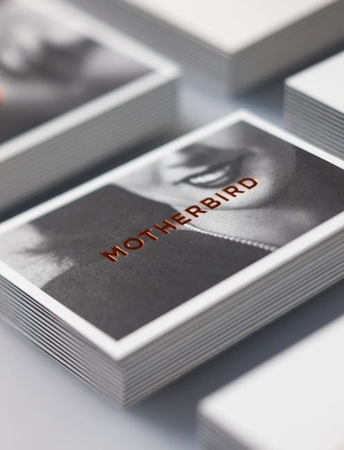 12 best business card design images on pinterest business card motherbird business cards with black and white photography white borders and copper foil print finish reheart Choice Image