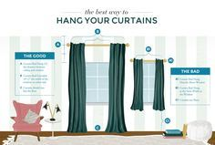 "Tips on Avoiding Design Mistakes when Hanging Curtains - hang high and wide to make ceilings look higher and windows bigger, hang at least 1/2 to 2/3 the distance between the top of the window and the ceiling, curtains should just float slightly above the floor or kiss it, 84"" is almost always too short, extend rod at least 6 - 10"" on either side of window to allow more light in, for wide windows use double panels on either side so they are proportionate to the window"