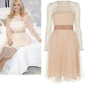 Where did Holly Willoughby get her white polka dot dress at her BHS bedding launch 21/11/13? - Style on Screen