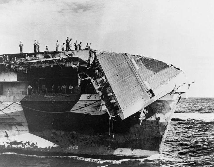 USS Hornet (CV-12) damaged flight deck 1945