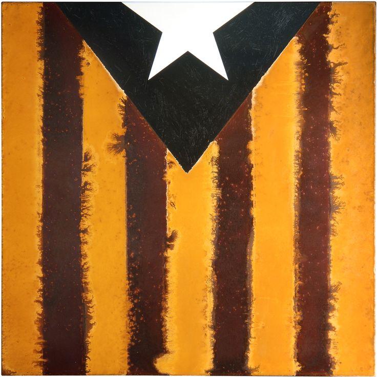 Estelada (Catalan flag) by Amer. #rustpainting #rustart #artonsteel #artonmetal #oxidationart #amerart #amerrust