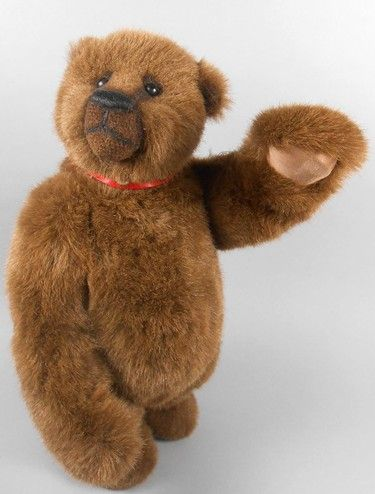 """Adopt a Bear todayArmani by: Arlene Anderson 16"""" fully jointed alpaca bear, poly filled, freestanding. Red leather collar. Original tag."""