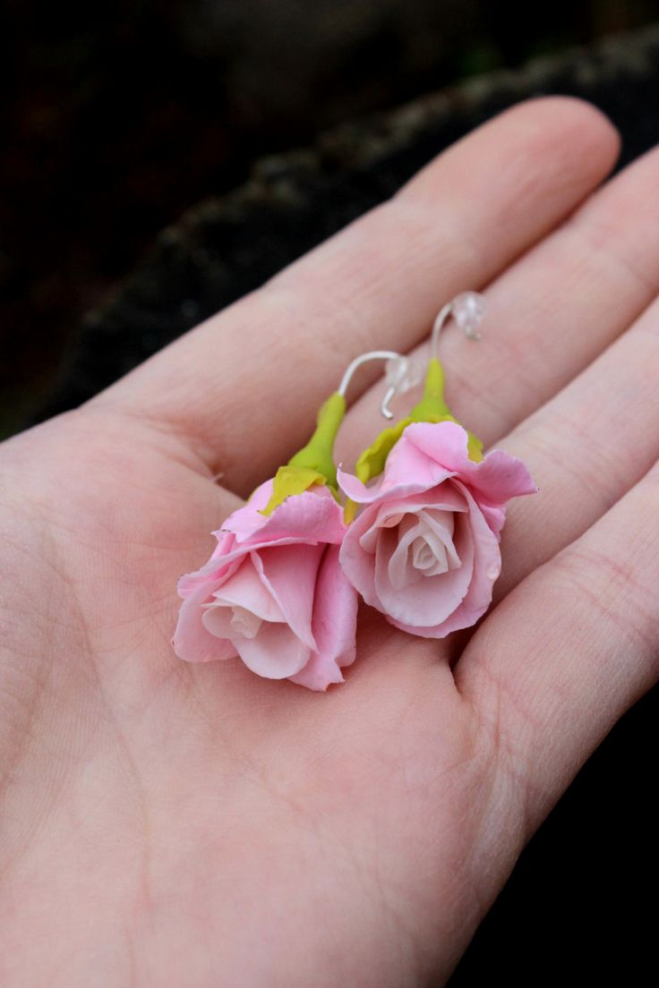 Rose jewelry, Rose pendant, Rose earrings, Pink jewelry - Cold porcelain jewelry for her by Jewellrylimanska on Etsy