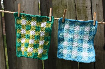 Gingham Dishcloth (crochet)