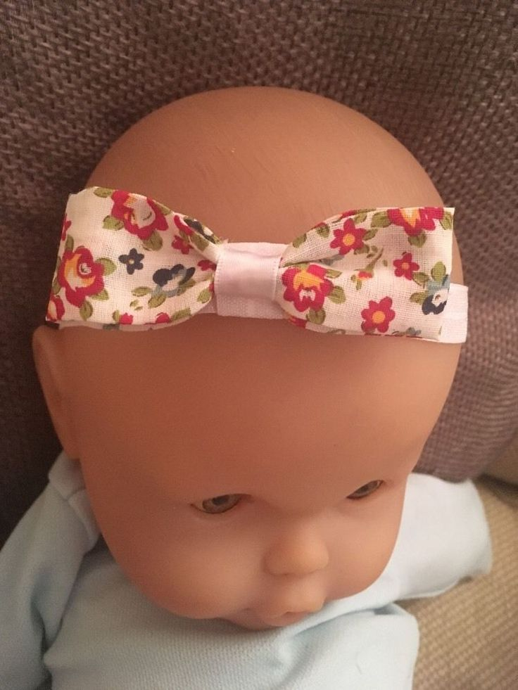 Baby Headband White Bow Elastic Girl Hair Exclusive Floral  Pattern Shabby Chic    eBay