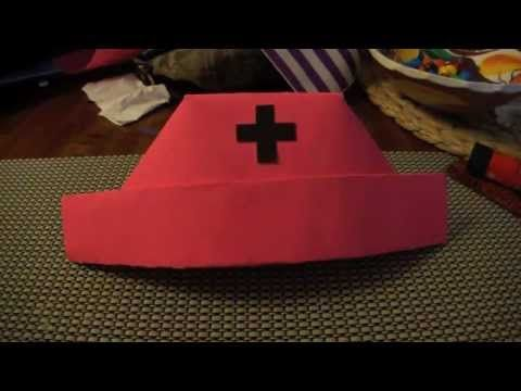 Paper Nurse hat. I made one of these for a gal that was finishing up her her nursing schooling. I put it ontop of a cake. So easy to make and she just loved it.
