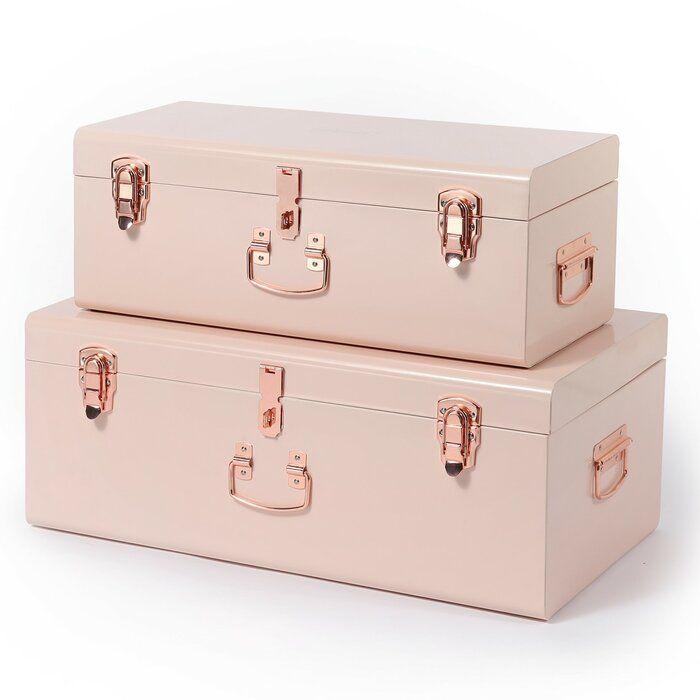 storage 2 piece trunk set in 2020  rose gold bedroom