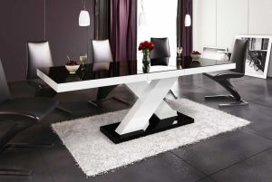 Nowoczesny stół, rozkładany, wysoki połysk, Xenon - Hubertus, czarny, biały