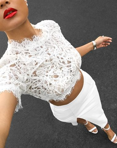 Amaris White Lace Crop Top
